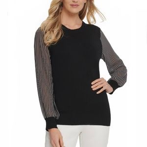 DKNY Black Sweater w/Sheer Striped Sleeves